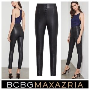 $178 BCBGMaxAzria Button Front Faux Leather